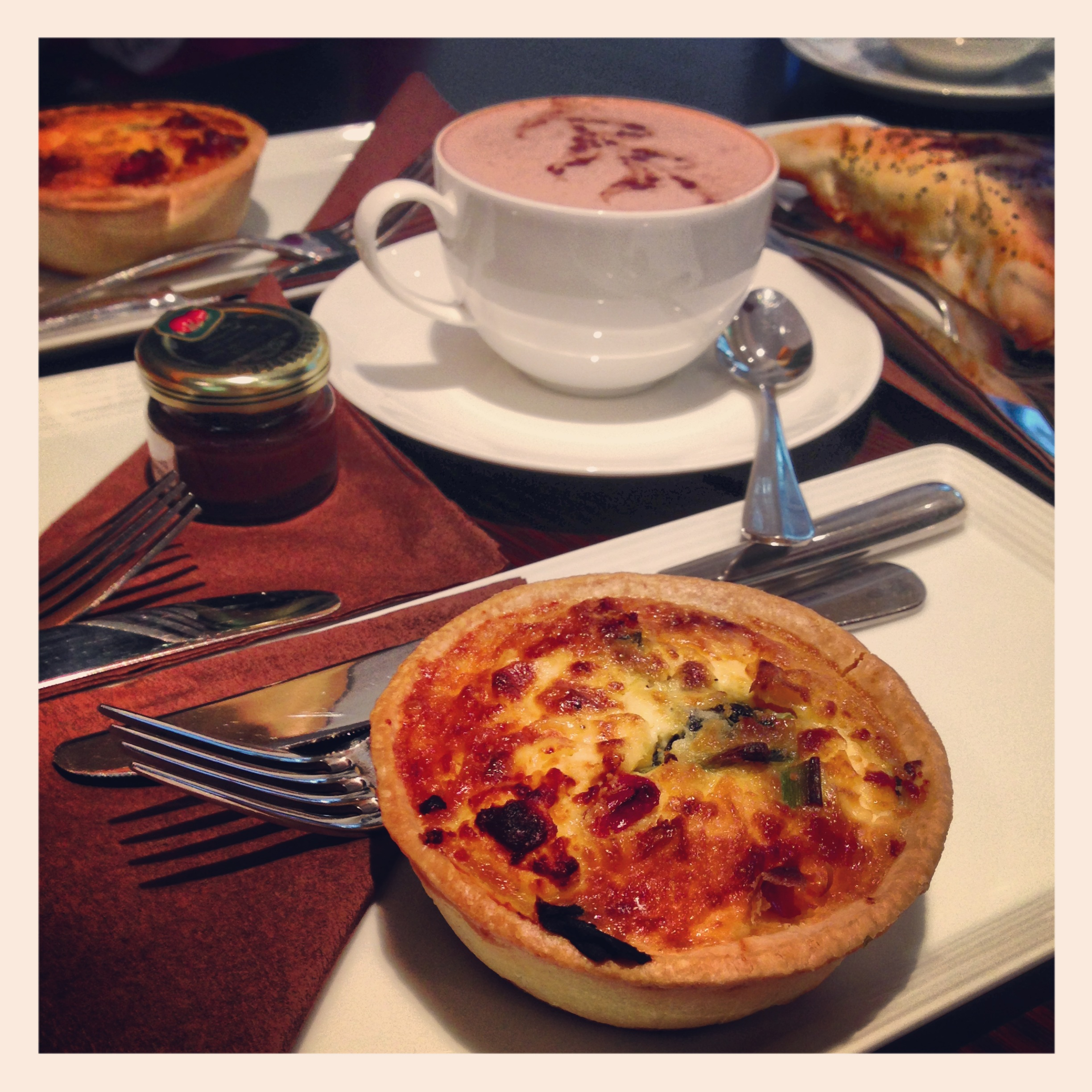 Baileys Dark Hot Chocolate & Quiche Lorraine at Le Petit Gateau