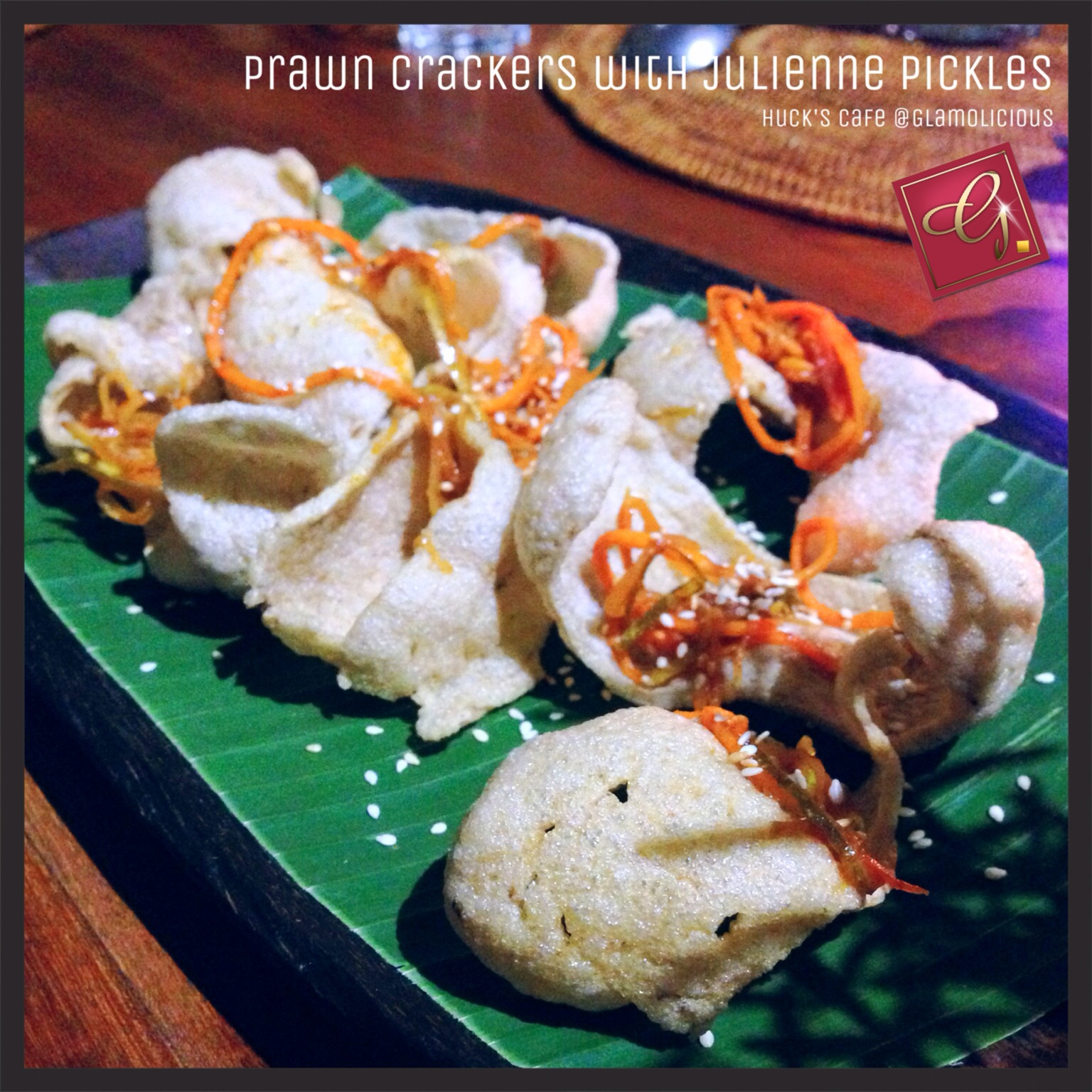 Prawn Crackers with Julienne Pickles by Huck's Cafe