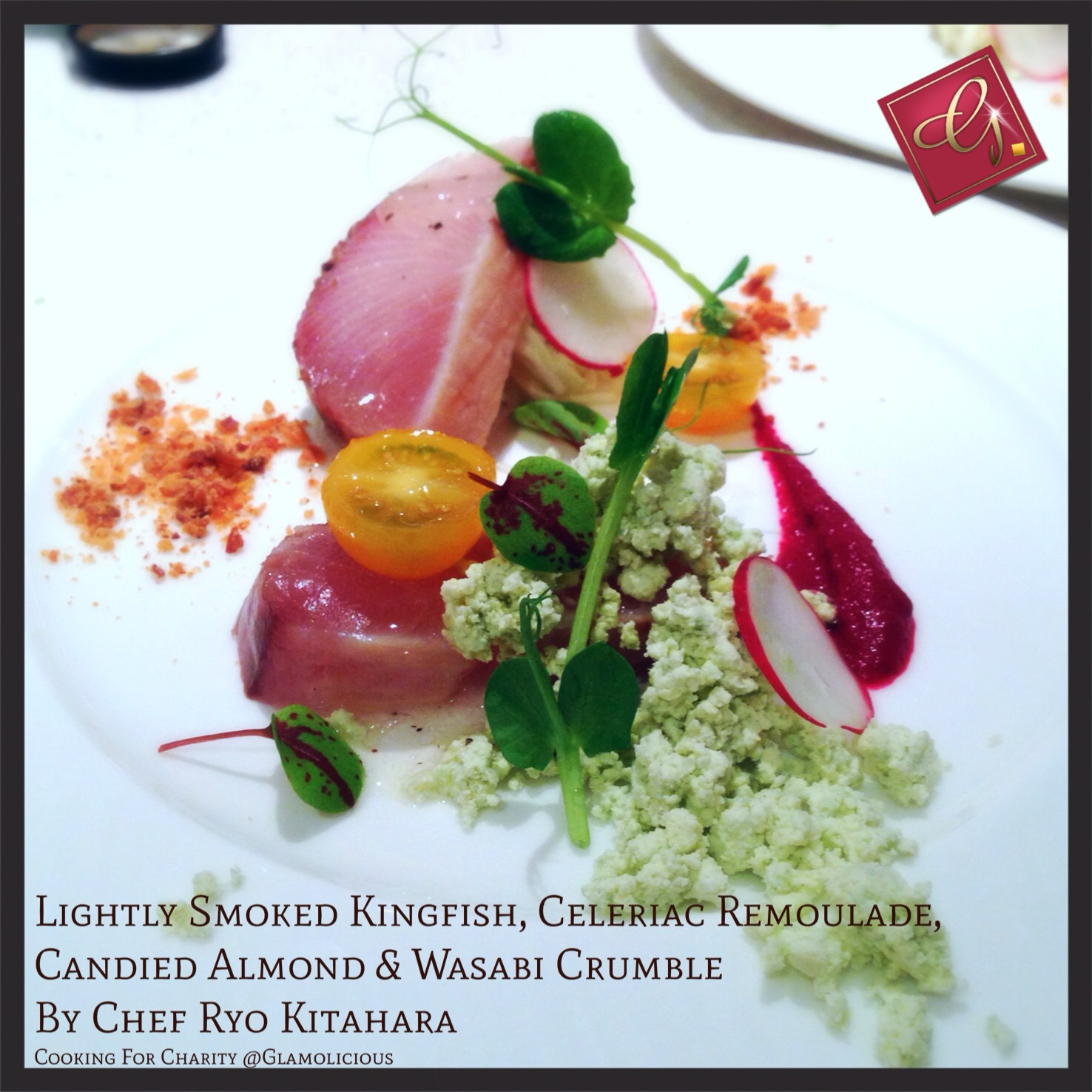Lightly Smoked Kingfish, Celeriac Remoulade, Candied Almond, Wasabi Crumble by Chef Ryo Kitahara